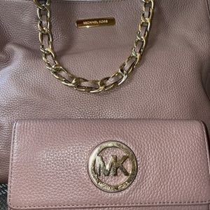 MICHAEL KORS DUSTY ROSE LEATHER TOTE & WALLET SET